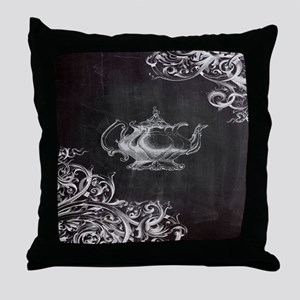 chalkboard tea pot swirls Throw Pillow