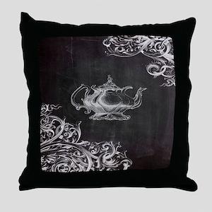 chalkboard tea pot swirls Throw Pillow