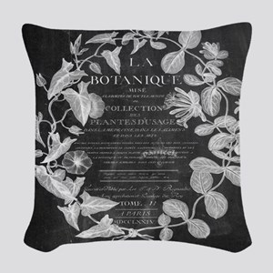 vintage chic botanical leaves Woven Throw Pillow