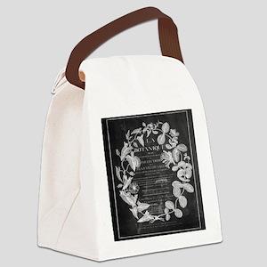 vintage chic botanical leaves Canvas Lunch Bag