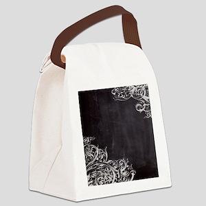 modern chalkboard swirls pattern Canvas Lunch Bag