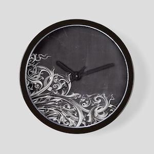 modern chalkboard swirls pattern Wall Clock