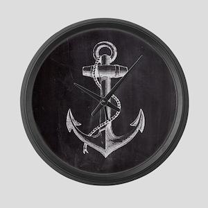 modern nautical anchor Large Wall Clock