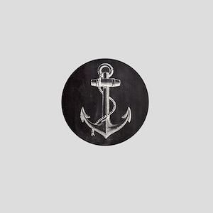 modern nautical anchor Mini Button