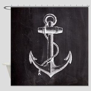 modern nautical anchor Shower Curtain
