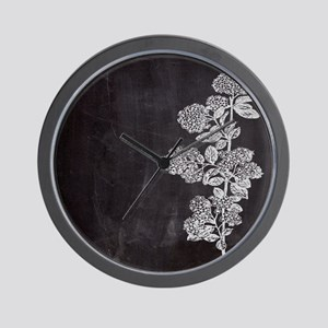 shabby chic floral chalkboard Wall Clock