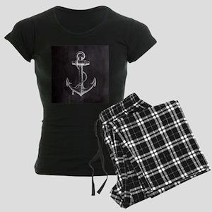 modern nautical anchor Women's Dark Pajamas