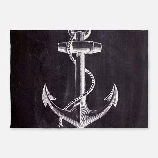 modern nautical anchor 5'x7'Area Rug