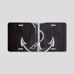 modern nautical anchor Aluminum License Plate