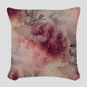 Angel Flowers Woven Throw Pillow