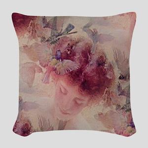 Angel Flowers Woven Throw Pillow