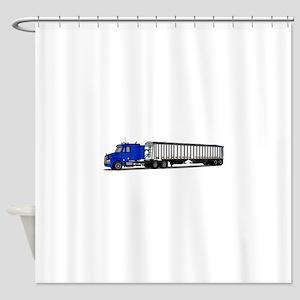 Semi Tractor Trailer Shower Curtain