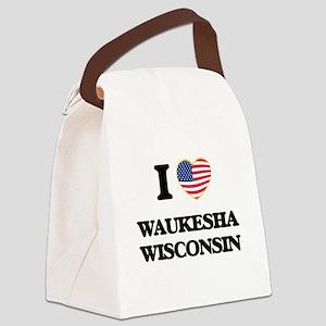 I love Waukesha Wisconsin Canvas Lunch Bag