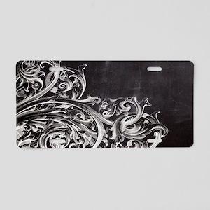 modern chalkboard swirls pa Aluminum License Plate