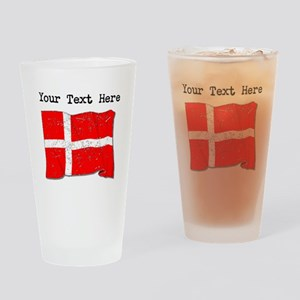 Denmark Flag (Distressed) Drinking Glass