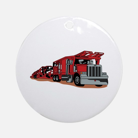 Car Hauler Ornament (Round)