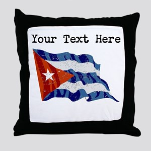 Cuba Flag (Distressed) Throw Pillow