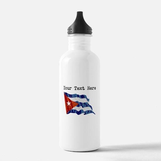 Cuba Flag (Distressed) Water Bottle