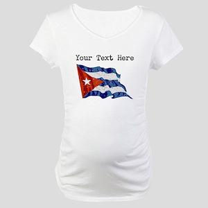 Cuba Flag (Distressed) Maternity T-Shirt