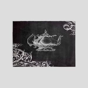 chalkboard tea pot swirls 5'x7'Area Rug