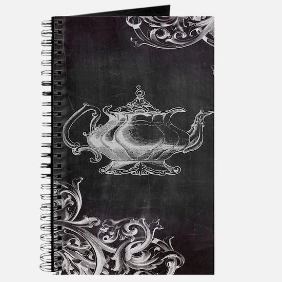 chalkboard tea pot swirls Journal