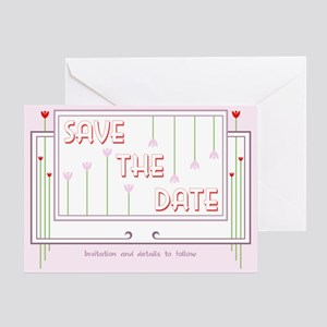 Deco Tulips Save the Date Greeting Card