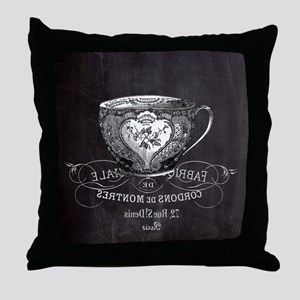 french chic teacup Throw Pillow