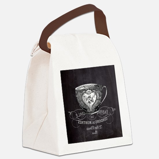 french chic teacup Canvas Lunch Bag