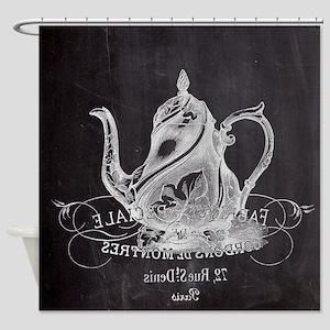 shabby chic teapot Shower Curtain