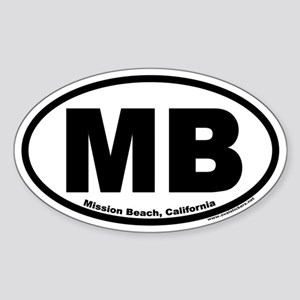 Mission Beach, California MB Oval Sticker