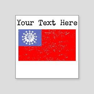 Burma Flag (Distressed) Sticker