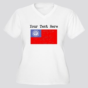 Burma Flag (Distressed) Plus Size T-Shirt