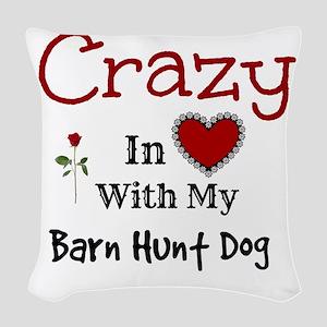 Barn Hunt Dog Woven Throw Pillow