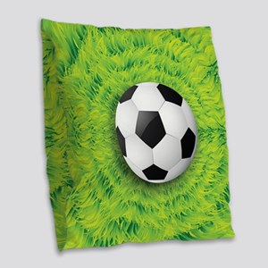 Ball On Grass Burlap Throw Pillow