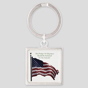 Pledge Of Allegiance Square Keychain
