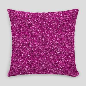 Magenta Pink Glitter Everyday Pillow