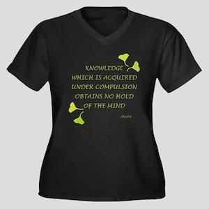 Knowledge Women's Plus Size V-Neck Dark T-Shirt