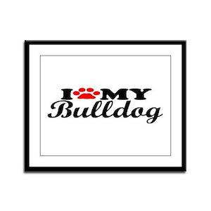 Bulldog - I Love My Framed Panel Print