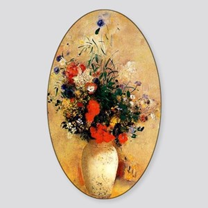 Flowers in a Chinese Vase Sticker (Oval)