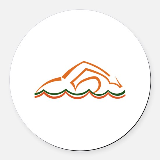 Swimmer Round Car Magnet