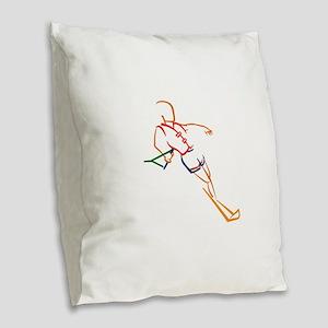 Water Skiing Burlap Throw Pillow
