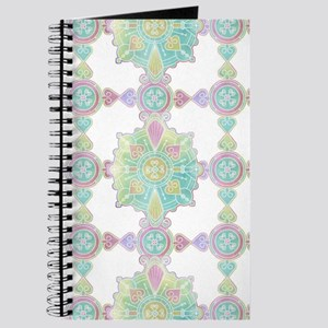 Boho Feather Watercolor Green and Blue Pat Journal