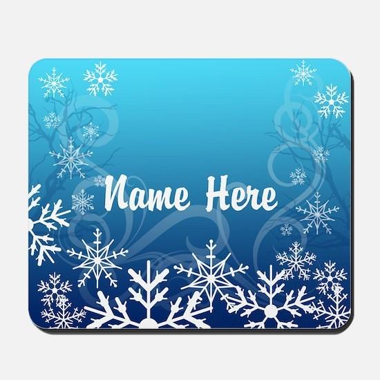 Frozen Snowflakes Custom Name Mousepad
