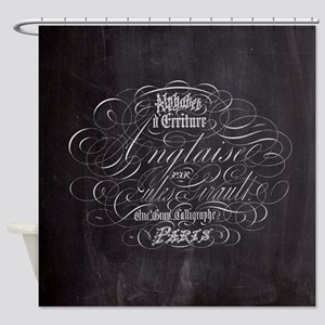 vintage french scripts paris Shower Curtain
