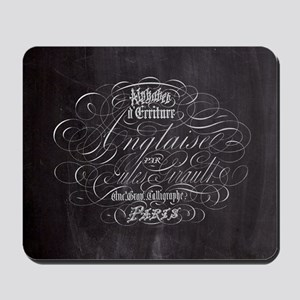 vintage french scripts paris Mousepad