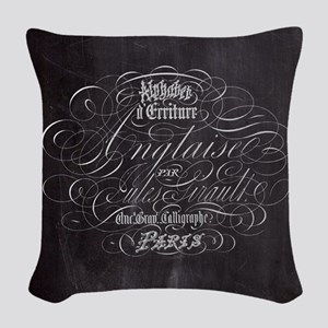 vintage french scripts paris Woven Throw Pillow