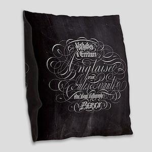 vintage french scripts paris Burlap Throw Pillow