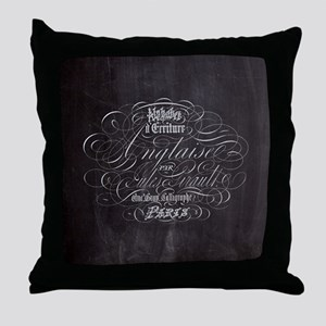 vintage french scripts paris Throw Pillow