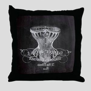 vintage Victorian corset Throw Pillow