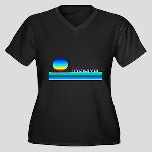 Mckayla Women's Plus Size V-Neck Dark T-Shirt